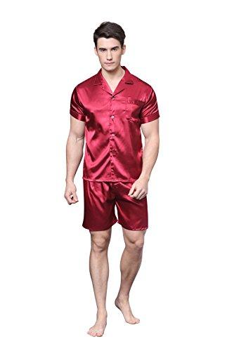 Pijama de satén para hombre Manga corta Hombre camisones Pijamas con pantalones cortos por TONY & CANDICE