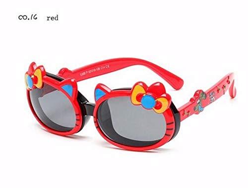 MoHHoM Sonnenbrillen Für Kinder,Kind Süße Katze Flip-Up-Polarisierte Sonnenbrillen Kinder Baby Kleinkind Cartoon Sonnenbrille Outdoor Brille Rot