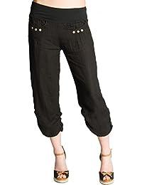 CASPAR KHS017 Pantalon 3/4 boyfriend femme en lin
