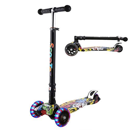 WeSkate Kinderscooter Junge Mädchen Kinderroller höhenverstellbarer und Abnehmbarer Lenker Tret-Roller mit 4-PU Rollen Scooter Kinder ab 3 Jahren