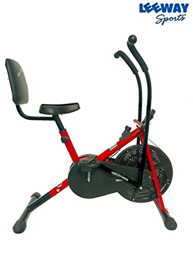 Leeway Stamina Air Bike With Back Support| Exercise Cycle| Air Bike| Moving Handle Gym bike| Deluxe Design Lifeline for Cardio Fitness Work Out| Cross fit Equipment| Dual Action with Back Support RED  available at amazon for Rs.6899
