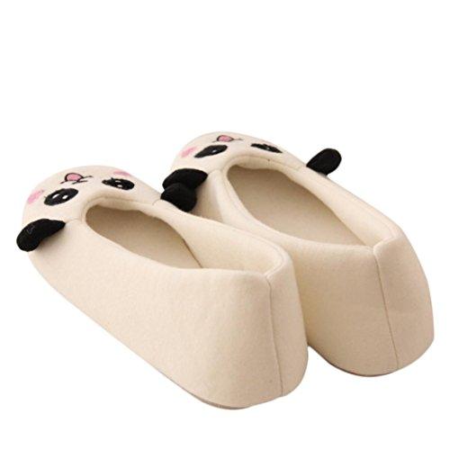 Amlaiworld Fumetto donna scarpe da ballo Piano casa morbide pantofole Indoor Bianco