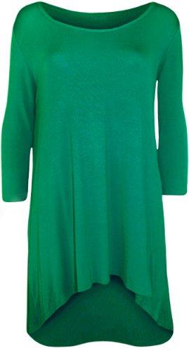 WearAll - Damen Übergröße Einfarbig Dip Saum Langarm T-Shirt Top - 6 Farben - Größe 42-56 Jade
