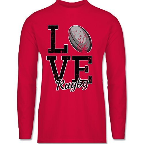 Shirtracer Sonstige Sportarten - Love Rugby - Herren Langarmshirt Rot
