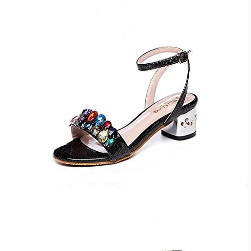 BaiLing Frauen Sommer Sandalen / Chunky Ferse Gürtelschnalle Walking / Farbe Rhinestones kleine Größe weibliche Schuhe Black