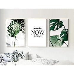 Nordic Ideas Set de 3 Posters Feuilles Tropicales et Citation Murale Tableau Décoration Plante Verte Affiche Feuille Impression Déco Salon Moderne Scandinave PTGL002-XL