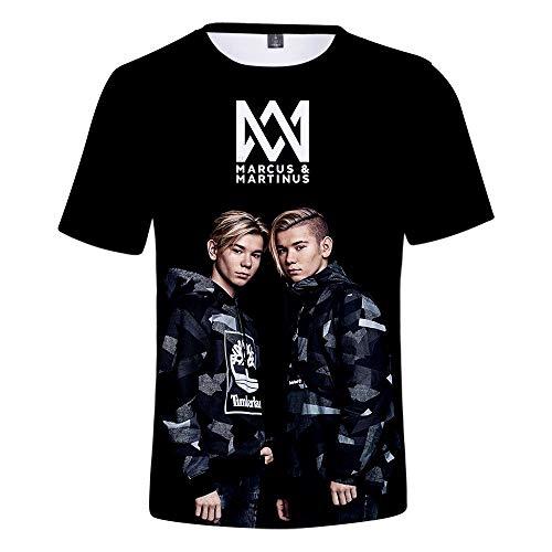 MR.YATCLS Zwillinge Marcus Und Martinus T-Shirt, 3D-Druck Kurzarm-T-Shirt, Unisex Musikthema T-Shirt, Sommer Polyester T-Shirts, Lässige Graphic Tees (Super T-shirt Star Weiches)