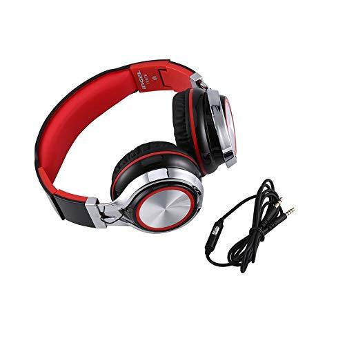 Pudincoco 2017 Mode Ingel Schwere Bässe Klappkopfhörer Mit Mikrofon Für Smartphone MP3 MP4 Tragbare 3,5mm Headset Stereo Kopfhörer IP878 (Farbe: schwarz & rot)