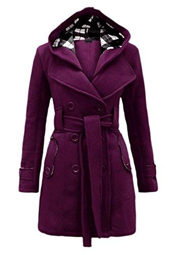 Le Donne Lo Stile Britannico Cintura Cerniera Felpa Inverno Caldo Impermeabile Outwear Purple