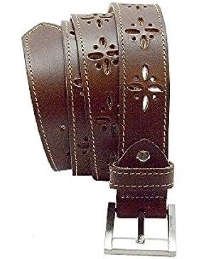 Bonake Cinturón de señora en piel de ternera con adorno perforado de flor pequeña.