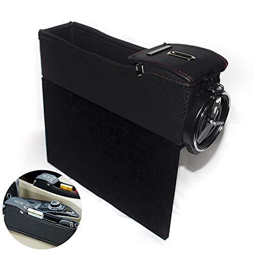 1 STÜCK Autositz Organizer Autositz Side Gap Filler multifunktionale Pu-leder Aufbewahrungsbox mit Münze Geld Getränke und Getränkehalter (Fahrersitz, Schwarz) (Münzen Vergrößern)
