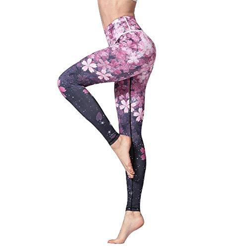 GDRFHJZ 3D Digital Floral Gedruckt Yoga Leggings Frauen Hohe Taille Fitness Sport Capri Hosen Gym Workout Jogging Strumpfhosen -