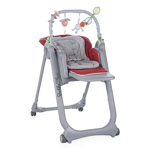 Chicco Polly Magic Relax - Trona/hamaca compacta con barra de juegos, 4 ruedas, color Gris (Gris-Rojo)