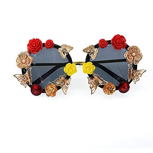 XHCP Frauen Klassische Sonnenbrille Schmetterling Rot Und Gelb Rose Handgemachte Metall Blume Barock Sonnenbrille Für Frauen Retro Gold Metall Farbe UV Schutz Fahren Sonnenbrille