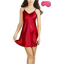 Bel Avril Femme Chemise de Nuit Peignoir Simple Nuisette Satin Taille de S à XXXL avec un Masque de Sommeil