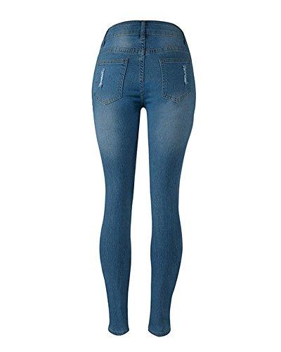 Jeans a Gamba Dritta Donna Jeans Strappati Boyfriend Pantaloni a Vita Alta Denim Jeans Pantaloni Blu