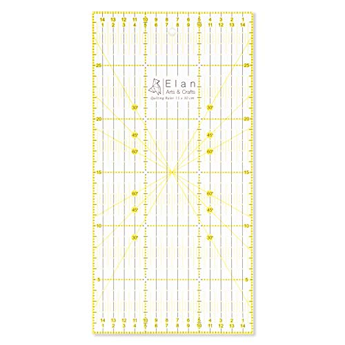 Elan Acryl Lineal 30cm   Quilt Lineal   Metrische Lineal   Transparentes Lineal   30 x 15 cm Patchwork Lineal ideal für Nähen und Quilten