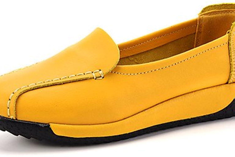 ZQ Zapatos de mujer-Tacón Plano-Comfort-Mocasines-Casual-Cuero-Negro / Amarillo / Blanco , yellow-us8.5 / eu39...