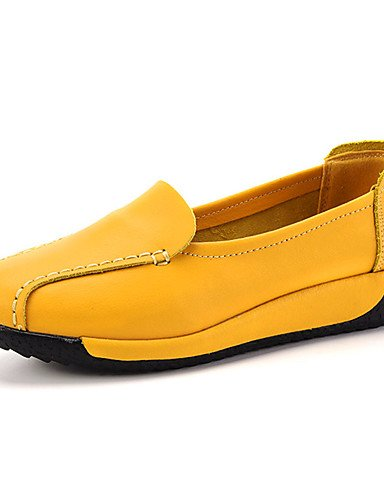 ZQ Scarpe Donna-Mocassini-Casual-Comoda-Piatto-Di pelle-Nero / Giallo / Bianco , yellow-us8.5 / eu39 / uk6.5 / cn40 , yellow-us8.5 / eu39 / uk6.5 / cn40 white-us6.5-7 / eu37 / uk4.5-5 / cn37