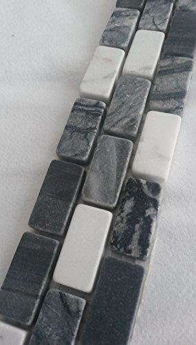 Naturstein Bordüre Mosaik 5x30 Schwarz Weiss Matte Fliesen Stäbchen Marmor - Marmor-matte