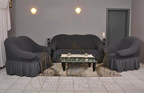 Stretch 2 Sitzer Bezug, 2 Sitzer Husse aus Baumwolle & Polyester. Sehr elastische Sofaueberwurf in anthrazit / dunkelgrau. Sofabezug Hussen Sofahusse Stretch Husse