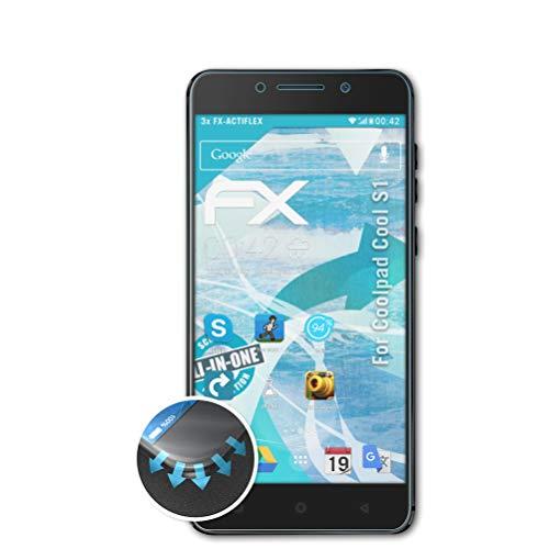 atFolix Schutzfolie passend für Coolpad Cool S1 Folie, ultraklare & Flexible FX Bildschirmschutzfolie (3X)