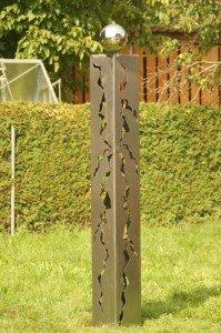 Edle Schmucksäule Eisen blank Säule 195cm mit Rissen und Edelstahlkugel*