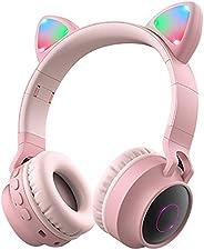 Wireless Bluetooth Headphones, Cat Ears Bluetooth Over Ear Headphones Volume Limiting,LED Lights, FM Radio, TF