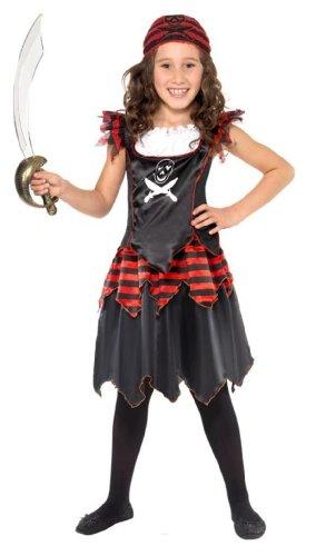 Karneval Kinder Kostüm Gothic Piratin Piraten Mädchen Gr.4-6 Jahre (Piraten Zombie Kostüm Für Mädchen)