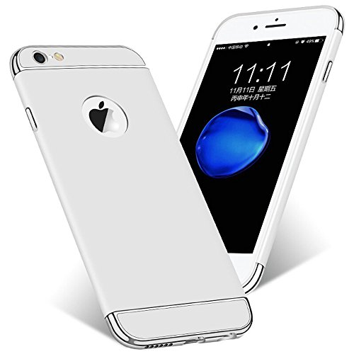 iPhone 6 6sHülle 3 in 1 Ultra Dünner PC Harte Case 360 Grad Ganzkörper Schützend with Electroplated Bumper Anti-Kratzer Shockproof für Apple IPhone6 plus/6splus (iPhone 6 6s 4.7, Silber)