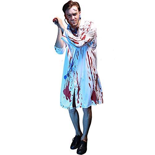 wnddm Erwachsene Männer Halloween Scary Bloody Print Labor Chirurg Doktor Zombie Kostüm Horror Walking Dead White Coat Outfit für - Walking Dead Kostüm Männer