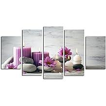 5 paneles sin marco púrpura florece la pintura al óleo de la vela No Frame aceite
