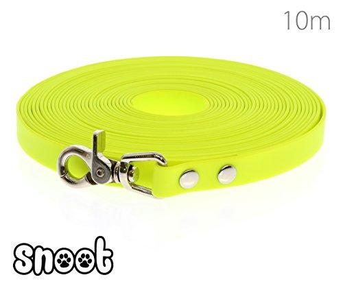 Schleppleine 10m Neon-Gelb - zugfeste, schmutz- und wasserabweisende Hundeleine mit einem Karabiner