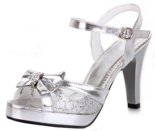 Aisun Damen Süß Metallic Schleifen Strass Cut-Out Trichterabsatz Schnalle Sandalen Silber