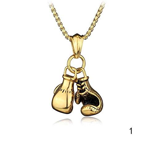 Herren Damen Kette Halskette Blue Vessel Boxhandschuhe Anhänger Halskette Sport Necklace (Gold)