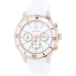 Sector Men's Quartz Watch with White Dial Chronograph Display and White PU Strap R3251161501