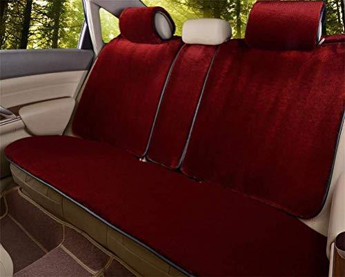 XCJ Schaffell Sitzbezüge Weichem Plüsch Wolle Sitzmatte Rutschfeste Abdeckung für Die Meisten Autos, LKW, SUV oder Van,rot (Sitzbezüge Schaffell Lkw Für)