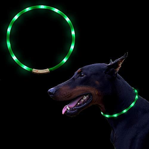 OIZEN LED Collier pour Chiens, USB Rechargeable Collier en Silicone, 70CM Réglable Collar pour Chiens, Chats et Animaux de Compagnie