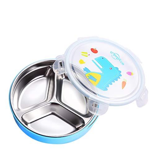 Love lamp Boîte À Lunch pour Enfants avec Vaisselle en Acier Inoxydable Et Grille (Color : Blue)
