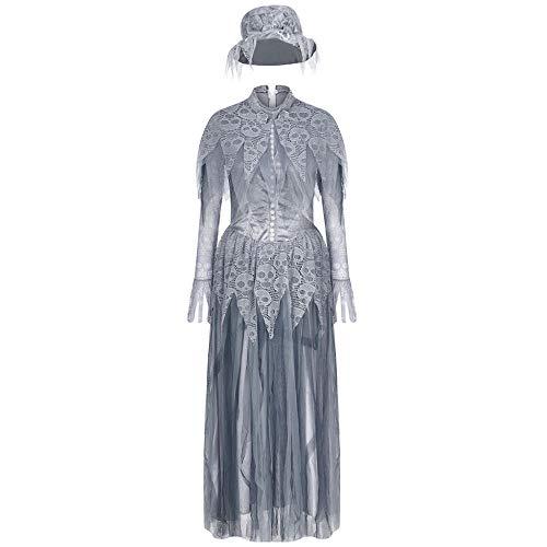 wnddm Vintage Cosplay Halloween Kleid Kostüm Horror Geist Braut Kleid Kopfschmuck Zombie Braut Hexe Geist Kostüm Frauen Mädchen@01_S_China (China Kostüm Kopfschmuck)