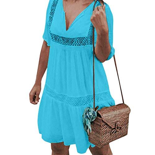 Kleider Damen Sommer Elegant, Einfarbiges V-Ausschnitt Sommerkleid für Frauen Kurz Sexy Hohl Schößchen Freizeitkleider Mädchen Casual Locker Kurzarm Einteiler Strand Urlaub Party Home (XL, Blau)