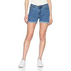 Vero Moda NOS Vmhot Seven NW Dnm Fold Shorts Mix Noos Pantalones Cortos para Mujer , Azul (Medium Blue Denim Medium Blue Denim) , 40 (Talla del fabricante: Medium)