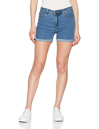 Vero moda nos vmhot seven nw dnm fold shorts mix noos , blu (medium blue denim medium blue denim) , 46 (taglia produttore: large)
