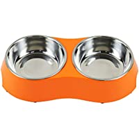 Cuencos para Perros, Cuencos para Mascotas de Acero Inoxidable Alimentador de Agua con Doble alimento