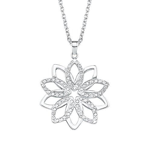 s.Oliver Damen Kette 42+3cm mit Anhänger Blume Edelstahl veredelt mit Kristallen von Swarovski