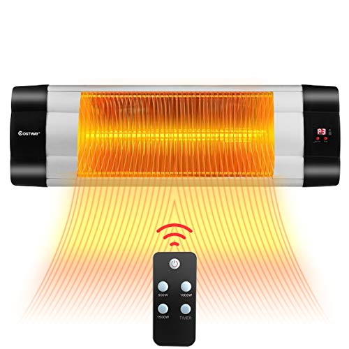 COSTWAY Wall Mounted Infrared Patio Heater with Remote Control, LED Display, 3 Heat Settings & 24-Hour Timer, Angle Adjustable Indoor Outdoor Electric Warmer, IP34 Waterproof