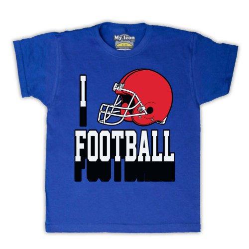 I Love Football American Football Helmet Kinder T-Shirt, Blau, 5-6 Jahren