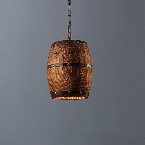 Schmiedeeisen Fass (Vintage Kronleuchter LED Holz Kronleuchter Kreative Fass Kronleuchter Schmiedeeisen Esstisch Kronleuchter Cafe Bar Dekoration Lampe)