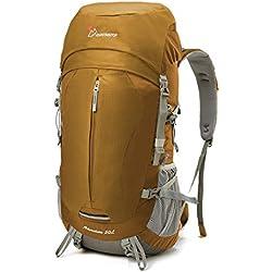Mountaintop Mochila de Senderismo 50L Para Deporte Aire Libre del Viaje de Acampa con Cubierta de Lluvia-5818III Amarillo