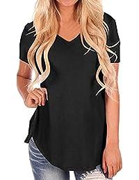 LILICAT® Camisetas Desigual Mujer, Camisetas Blusas Tallas Grandes de Manga Corta con Cuello en V Moda 2018 Tops…